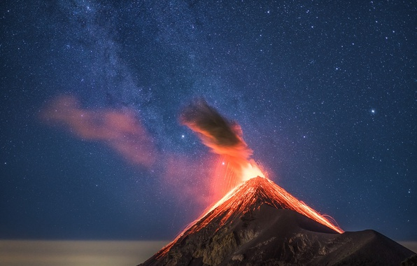 Picture the sky, stars, night, nature, mountain, the volcano
