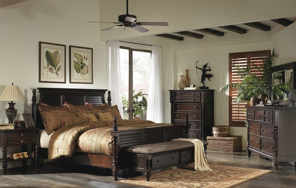 Photo wallpaper style, British Colonial Bedroom, interior, room, bedroom