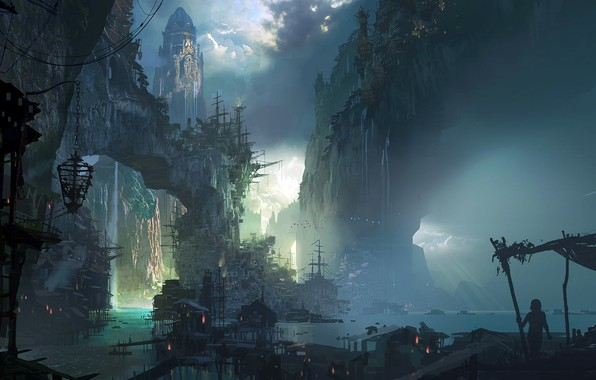 Picture city, fantasy, game, rocks, houses, waterfall, League of Legends, castle, ship, buildings, fan art, artwork, …