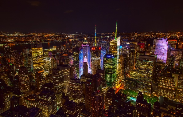 Picture night, the city, lights, USA, New York