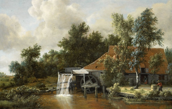 Picture landscape, oil, picture, Meindert Hobbema, Water Mill