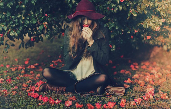 Picture girl, mood, hat, petals, flowers, Barbora