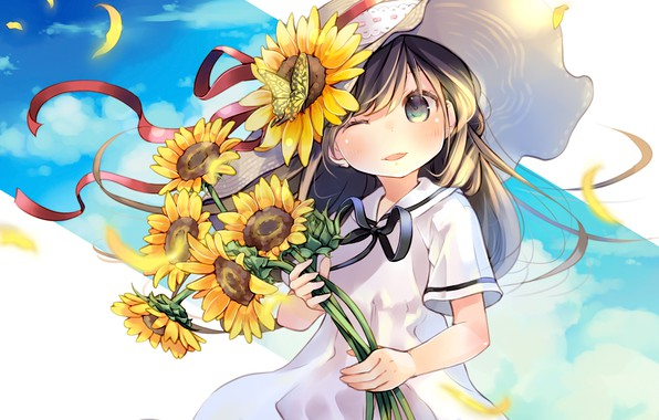 Picture sunflowers, flowers, anime, girl