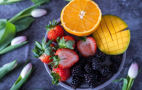 Picture orange, strawberry, tulips, fruit, mango, BlackBerry