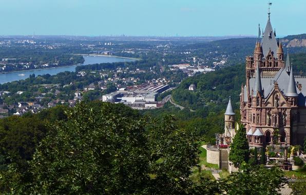 Photo wallpaper Konigswinter, river, North Rhine-Westphalia, Rhine River, Dragon Castle, Dragon's Castle, King winter, The City Of ...