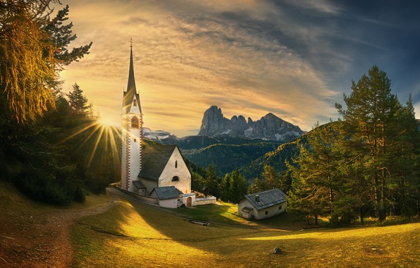 Picture trees, sunset, mountains, Italy, Church, Italy, The Dolomites, South Tyrol, South Tyrol, Dolomites, Urtijëi, St. …