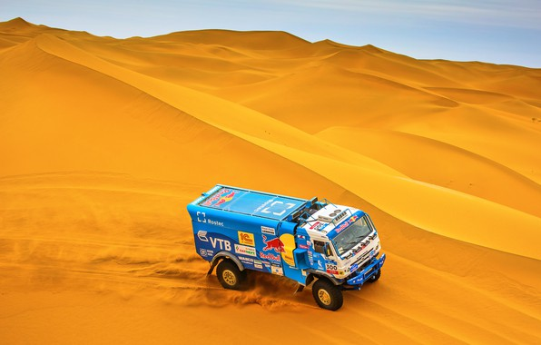 Picture The sky, Sand, Nature, Sport, Speed, Truck, Race, Master, Beauty, Russia, Beast, Gold, Kamaz, Rally, …