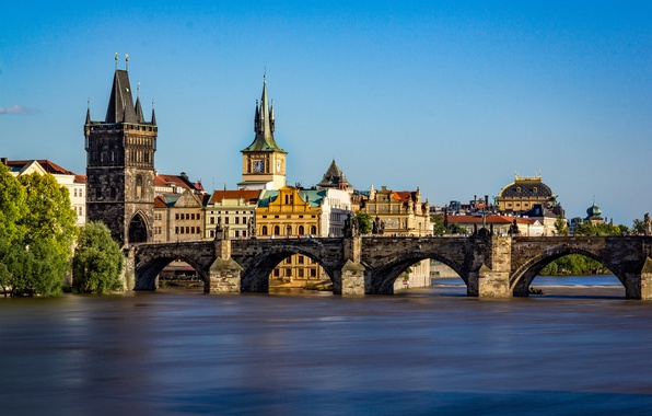 Picture river, Prague, Czech Republic, Vltava, Charles bridge
