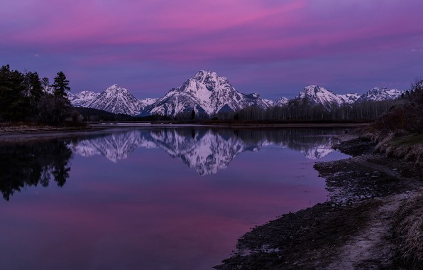 Picture mountains, reflection, river, dawn, morning, Wyoming, Wyoming, Grand Teton National Park, Rocky mountains, The Snake …
