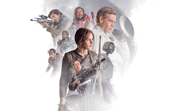 Picture weapons, fiction, collage, robot, white background, poster, Forest Whitaker, Forest Whitaker, Felicity Jones, Felicity Jones, ...