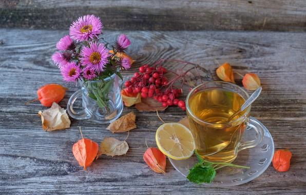 Picture flowers, berries, tea, drink