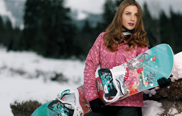 Photo wallpaper Snowboard, face, winter, girl, look, style