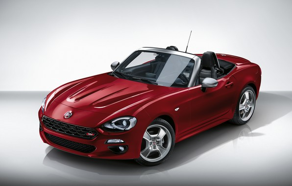 Picture red, background, Roadster, drives, Fiat, 124 Spider, Europa Limited Edition