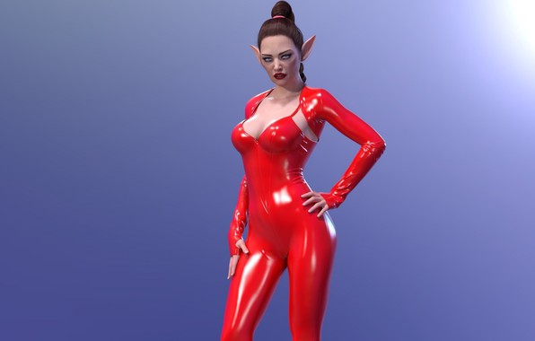 Picture girl, elf, red latex