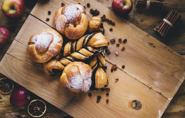 Picture apples, Mac, food, cakes, powdered sugar, buns, raisins, apples