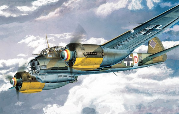 Picture Germany, art, bomber, the plane, multipurpose, Junkers, Luftwaffe, The second World war, Ju 88A-4