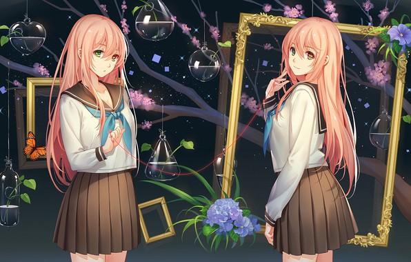 Picture girls, anime, frame, art