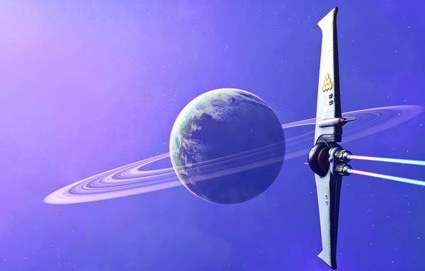 Picture future, space, fantasy, science fiction, stars, planet, digital art, artwork, fantasy art, rings, Spaceship, futuristic, …
