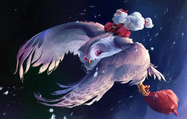 Picture fantasy, Christmas, flying, winter, snow, artist, digital art, bag, artwork, Santa Claus, owl, Thomas Chamberlain …