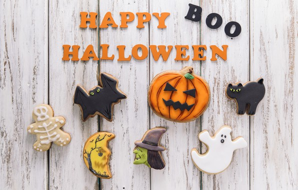 Picture holiday, the inscription, spider, cookies, pumpkin, Halloween