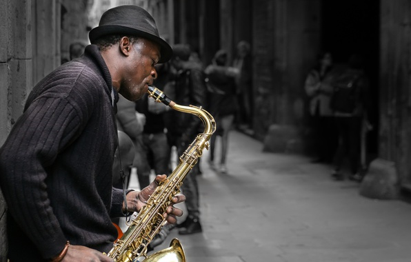 Photo wallpaper street, musician, saxophone