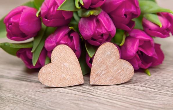 Picture flowers, heart, bouquet, tulips, love, heart, wood, flowers, romantic, tulips, spring, purple