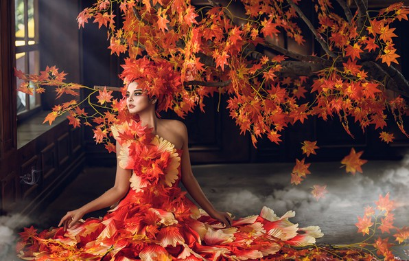 Picture autumn, leaves, girl, style, tree