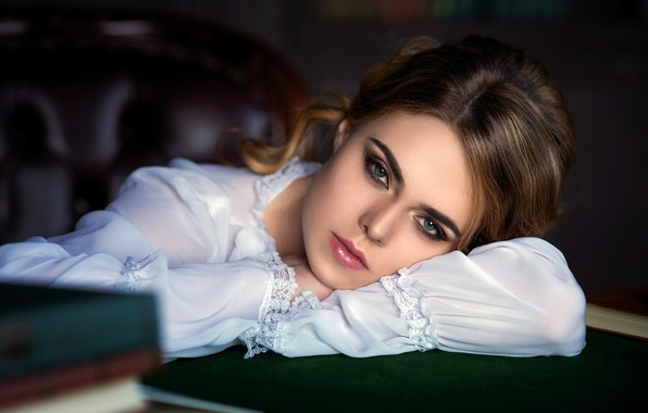 Picture girl, photo, photographer, blue eyes, model, mood, lips, face, brunette, table, shirt, portrait, smoky eyes, …