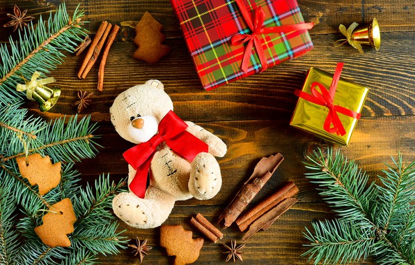 Christmas Teddy Bear Wallpaper: Wallpaper Decoration, Toys, Tree, New Year, Christmas