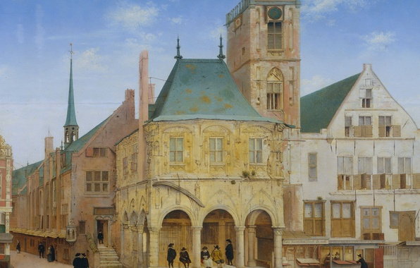 Picture tree, oil, picture, the urban landscape, Pieter Jansz Saenredam, The old town Hall in Amsterdam