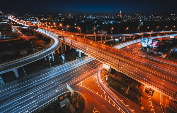 Picture road, light, night, the city, road, excerpt