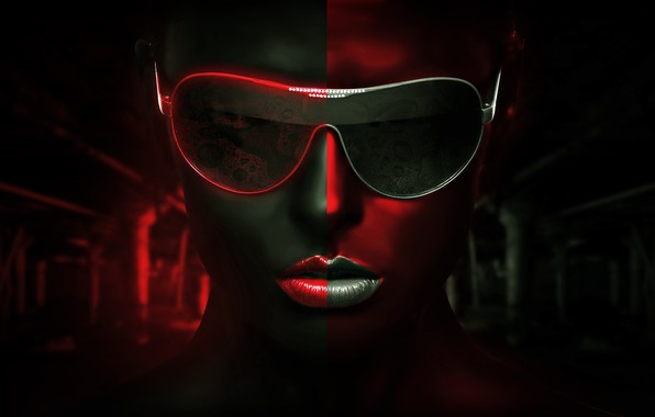 Picture girl, glasses, legacy, BossLogic, red gray background