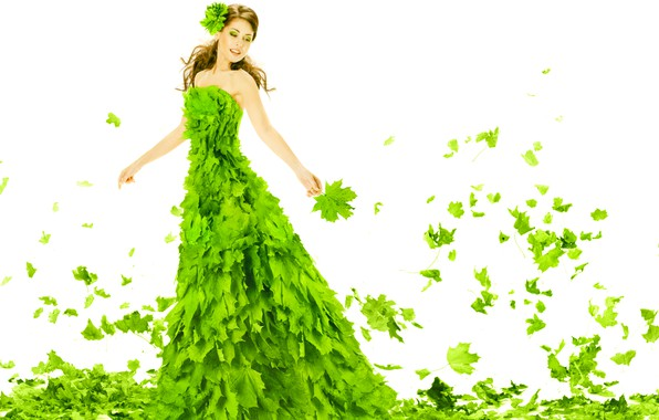 Picture greens, leaves, girl, foliage, makeup, dress, hairstyle, outfit, white background, brown hair, beautiful