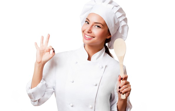Picture smile, makeup, spoon, white background, cook, brown hair, beauty, gesture, in white, uniform, Bathrobe, cap