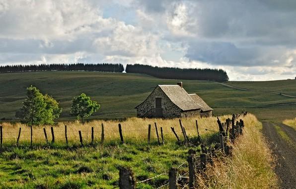 Picture road, field, nature, house, France, Aubrac Laguiole