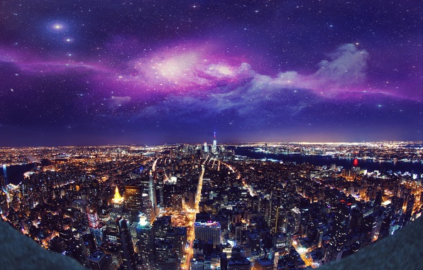Picture night, the city, lights, New York, skyscrapers, USA, USA, New York, Manhattan, manhattan