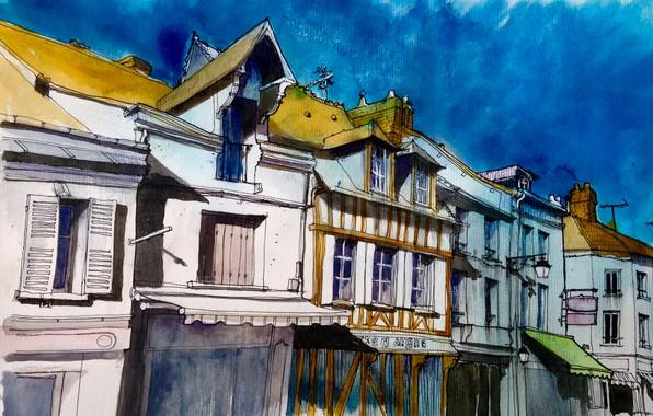 Picture the city, figure, France, home, watercolor, Pacy-sur-Eure