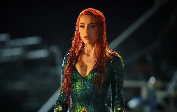 Picture green, cinema, red, dress, woman, movie, Amber Heard, redhead, film, oppai, Aquaman, red hairl, Mera