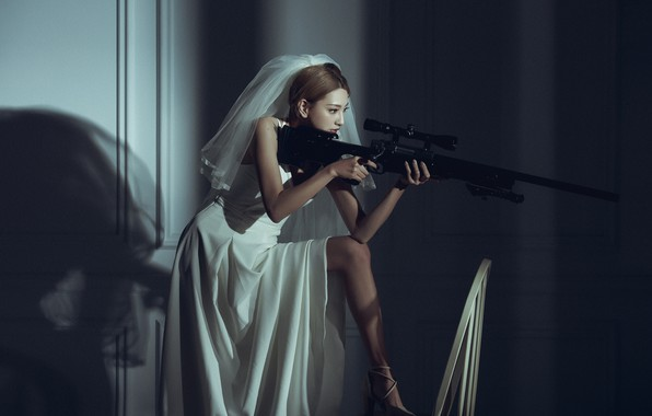 Picture pose, model, the situation, sniper, Asian, the bride, rifle, veil