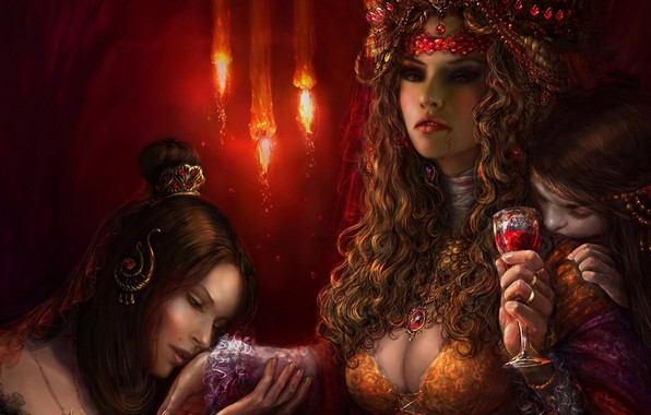 Picture girls, blood, glass, art, vampires