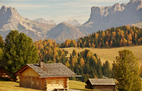 Picture autumn, forest, the sun, trees, mountains, rocks, valley, Italy, houses, Bolzano