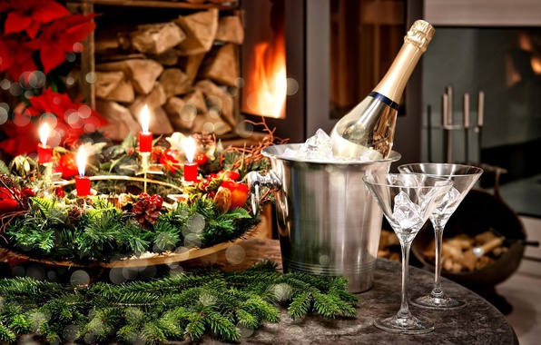 Picture holiday, new year, glasses, fireplace, champagne, decor