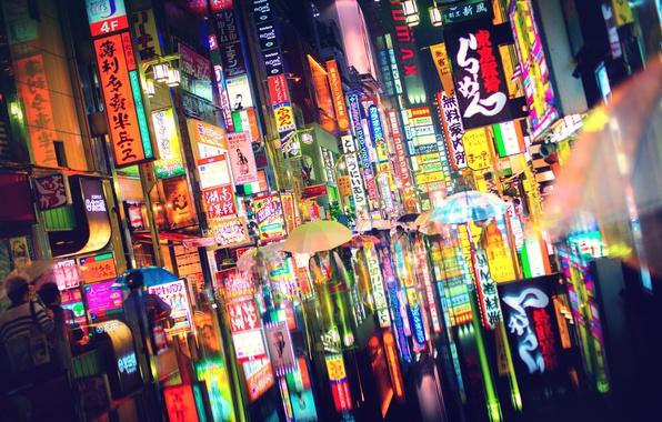 Picture light, the city, lights, people, Japan, Tokyo, umbrellas