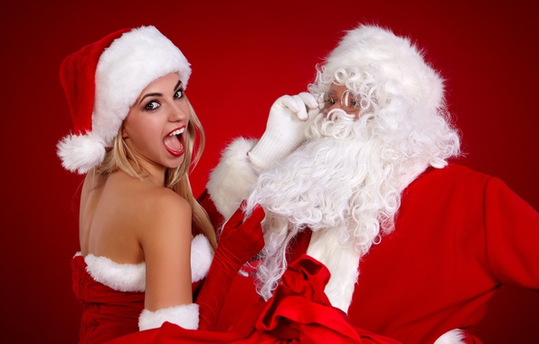 Picture background, holiday, Maiden, Santa Claus