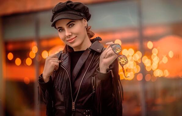 Picture look, smile, glare, background, portrait, makeup, glasses, jacket, brown hair, takes, cute, bokeh, kozhanka, Kaan …