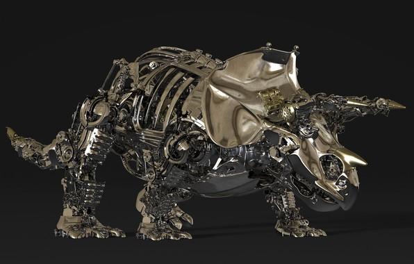 Wallpaper metal, details, Triceratops, Triceratops images for desktop, section рендеринг - download