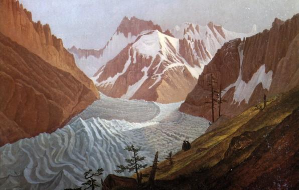 Picture snow, Carl Gustav Carus, Meblarskie mountain range, 1825