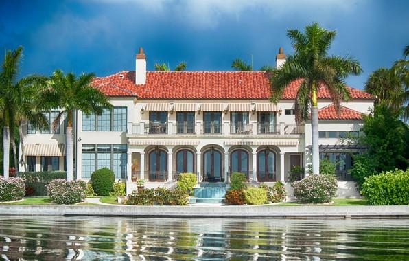 Picture water, palm trees, Villa, FL, the bushes, Florida, Sarasota, Sarasota