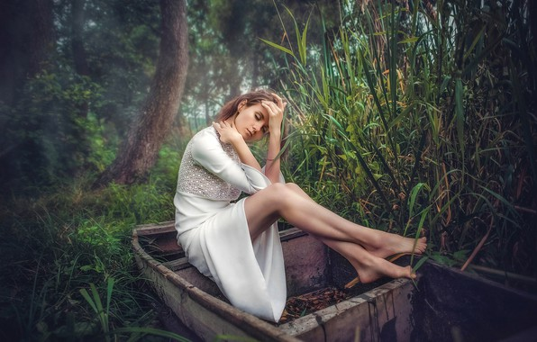Picture girl, pose, mood, feet, boat, dress, reed, Andrew Oksamyt