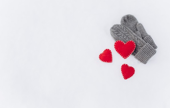 Picture background, hearts, Mittens